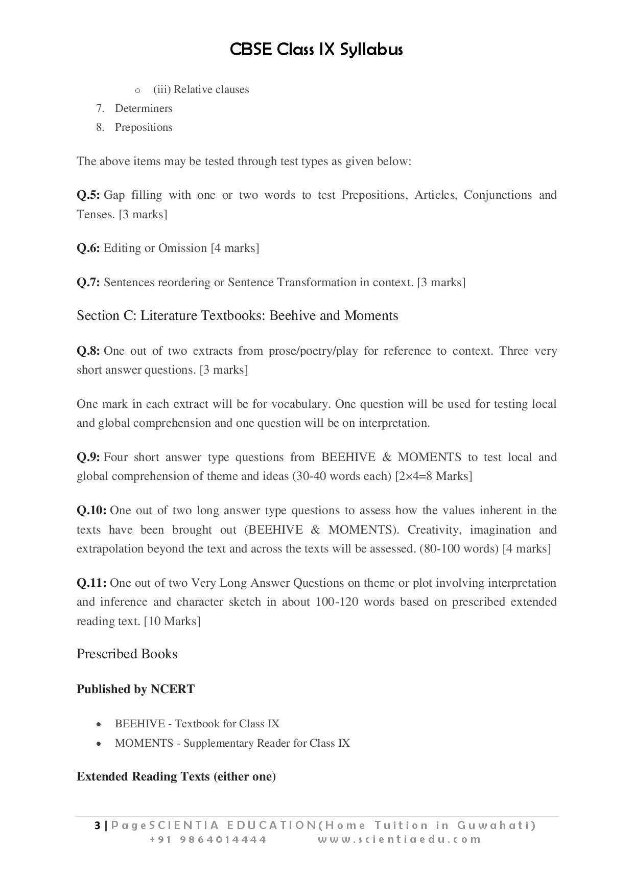 Class 9 english language literature syllabus cbse educational 9 english language literature page 003 malvernweather Images