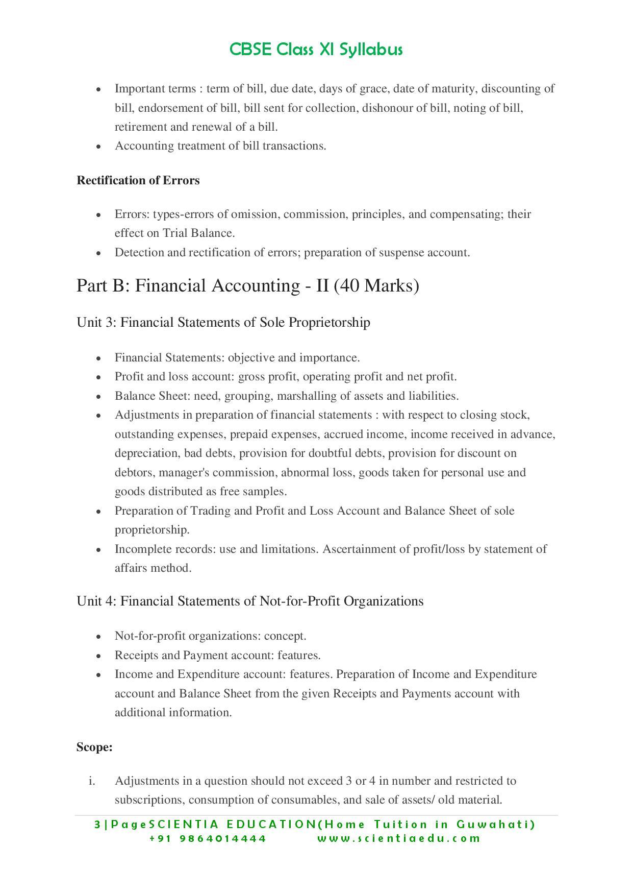 Class 11 Accountancy Syllabus CBSE - Educational Portal India